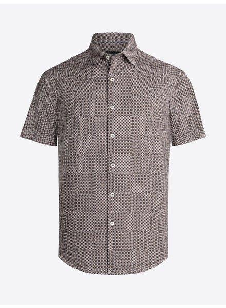 BUGATCHI UOMO Modern Fit Brown Dot Oooh Cotton Shirt