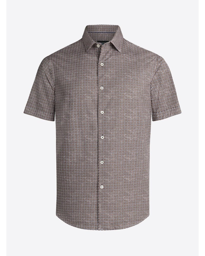 BUGATCHI UOMO Modern Fit Brown Dot Oooh Cotton Shirt