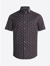 BUGATCHI UOMO Modern Fit Black Neat Oooh Cotton Shirt