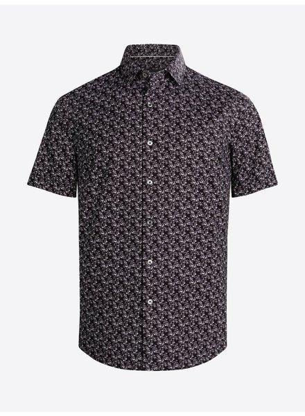 BUGATCHI UOMO Modern Fit Black Neat Oooh Cotton Shirt