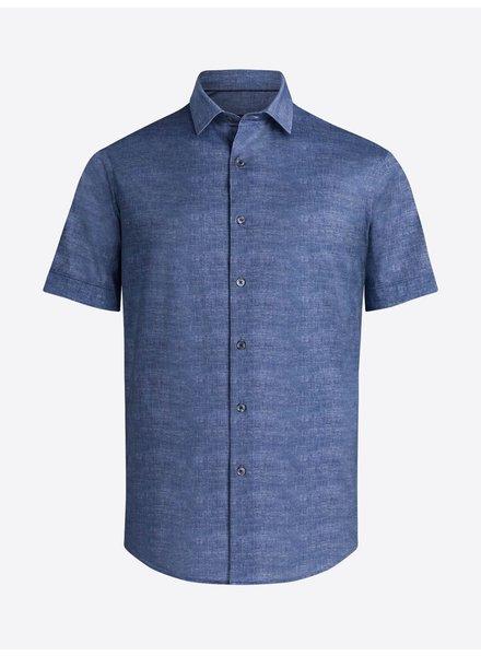 BUGATCHI UOMO Modern Fit Blue Oooh Cotton Shirt