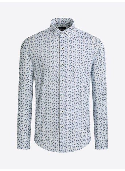 BUGATCHI UOMO Modern Fit Blue white Oooh Cotton Shirt