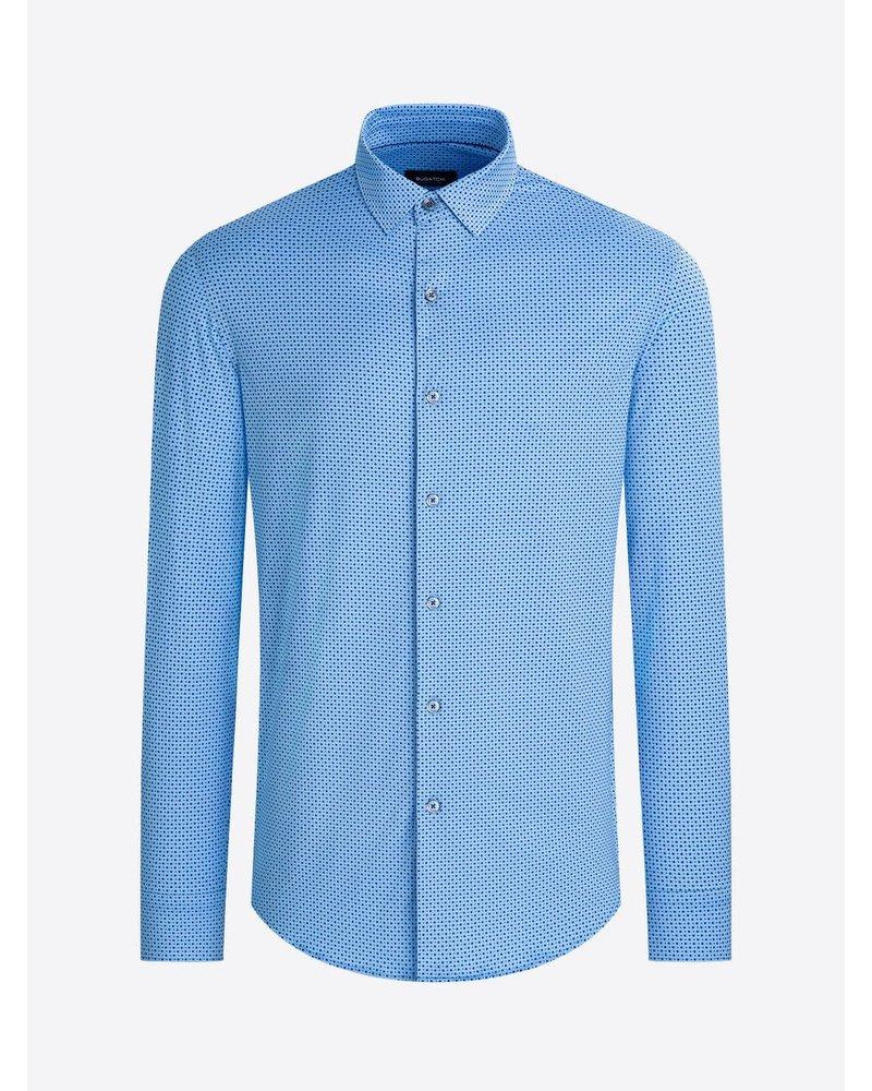 BUGATCHI UOMO Modern Fit Oooh Cotton Blue Dot Shirt