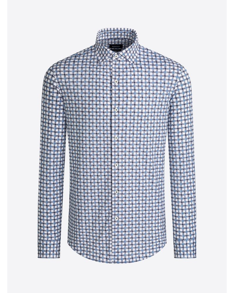 BUGATCHI UOMO Modern Fit Navy Grey Oooh Cotton Shirt