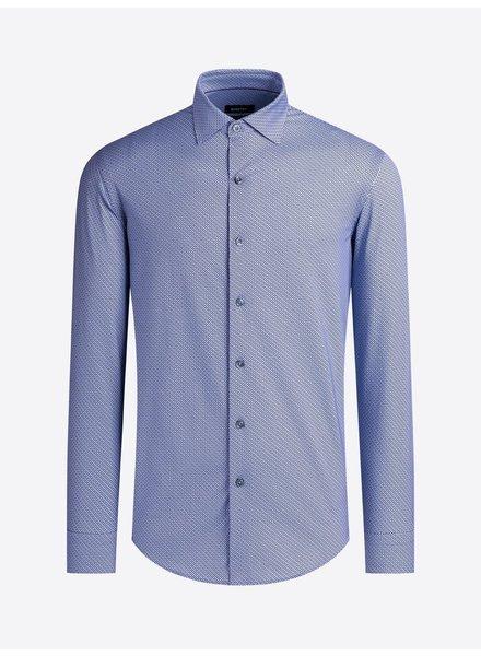 BUGATCHI UOMO Modern Fit Blue Neat Oooh Cotton Shirt