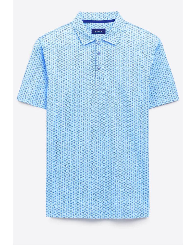 BUGATCHI UOMO Blue Oooh Cotton Polo