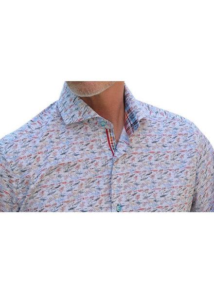 7 DOWNIE Modern Fit  Multi Colour Short Sleeve Shirt