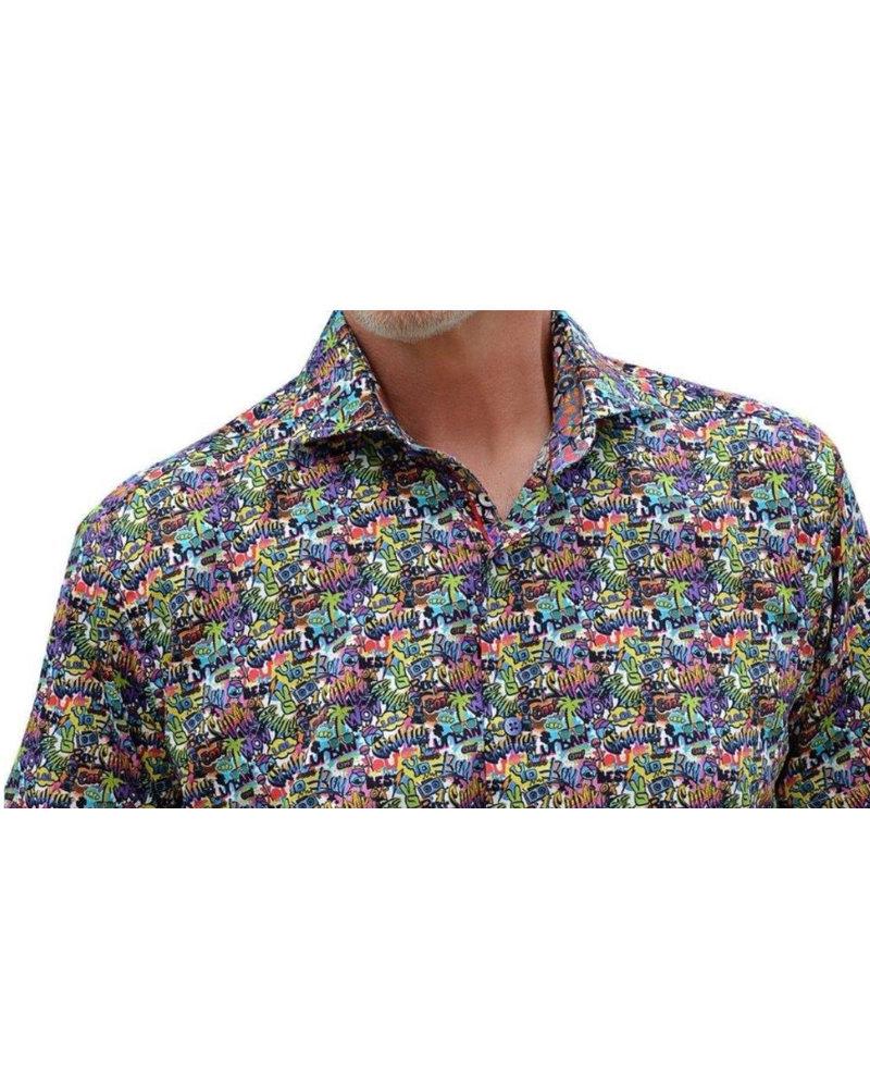7 DOWNIE Modern Fit Graphic Pattern Short Sleeve Shirt