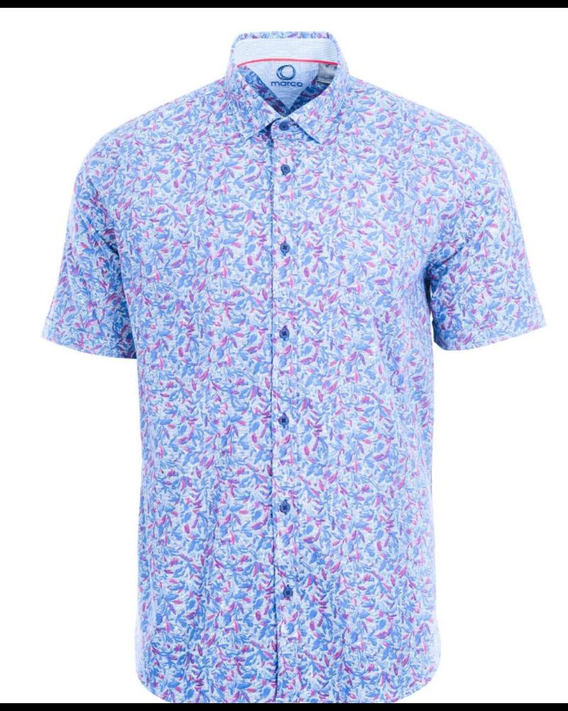 MARCO Modern Fit Rose Blue Leaf Print Shirt