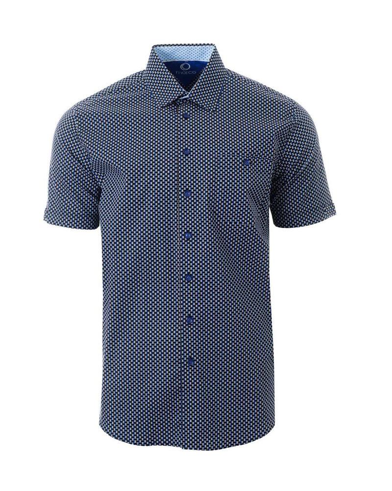 MARCO Classic Fit Black & Blue Shirt