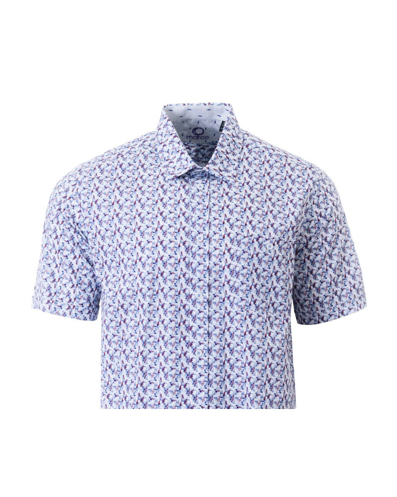 MARCO Classic Fit Blue with Feathers Shirt