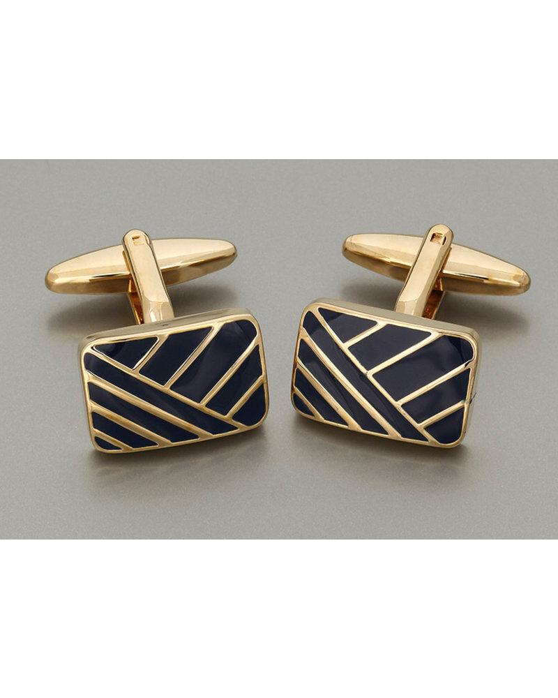 WEBER Gold with Navy Insert Cufflinks
