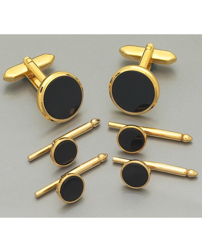 WEBER Gold Tone with Onyx Cufflinks & Stud Set