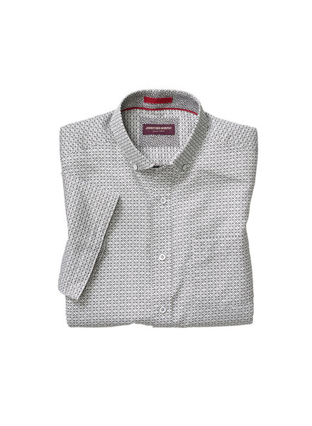 JOHNSTON & MURPHY Classic Fit White with Black Print Shirt