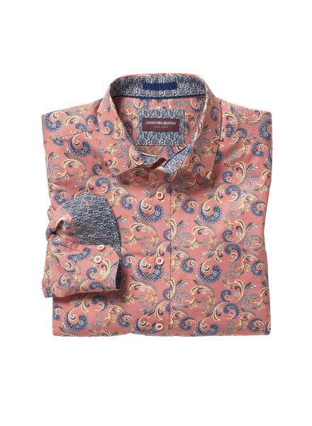 JOHNSTON & MURPHY Classic Fit Orange Paisley Shirt