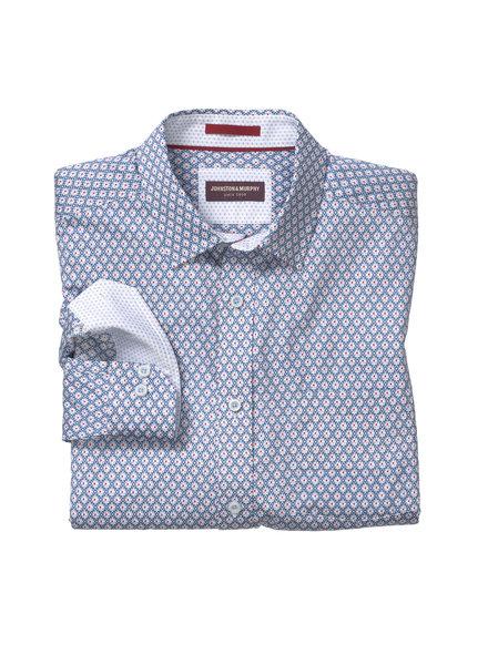 JOHNSTON & MURPHY Classic Fit Blue/Red Block Print Shirt