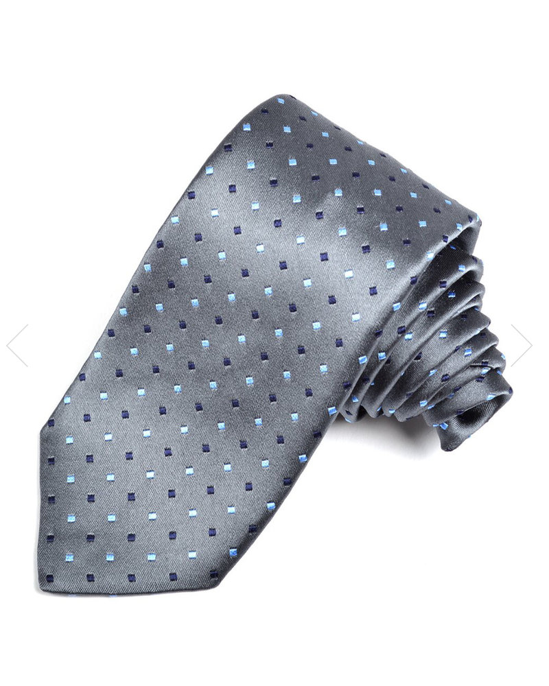DION Grey with Blue Blocks Silk Tie