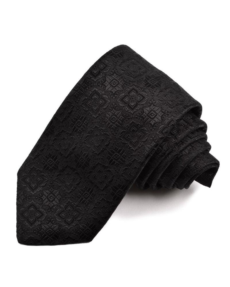 DION Black Tonal Pattern Silk Tie