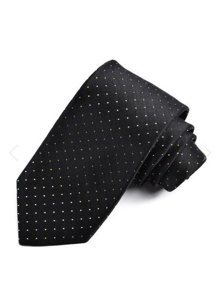DION Black Gold Dot Silk Tie