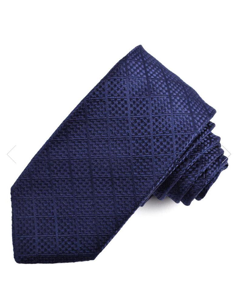 DION Navy Tonal Silk Tie