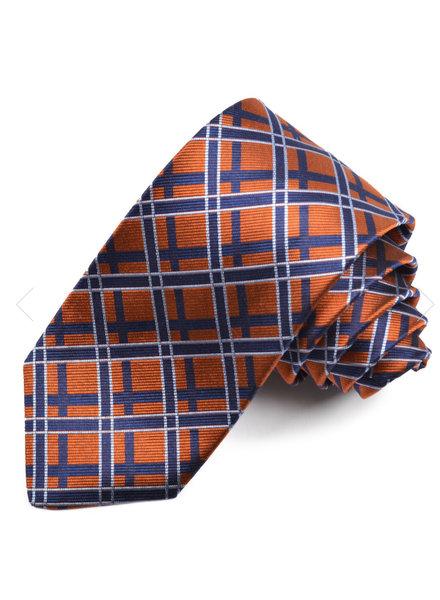 DION Navy Orange Silk Tie