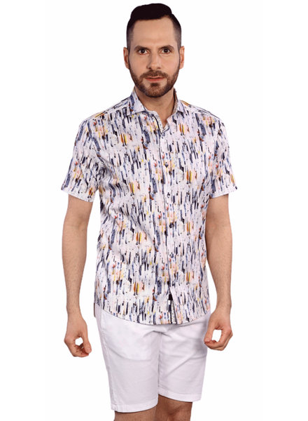 7 DOWNIE Modern Fit Abstract Print Shirt