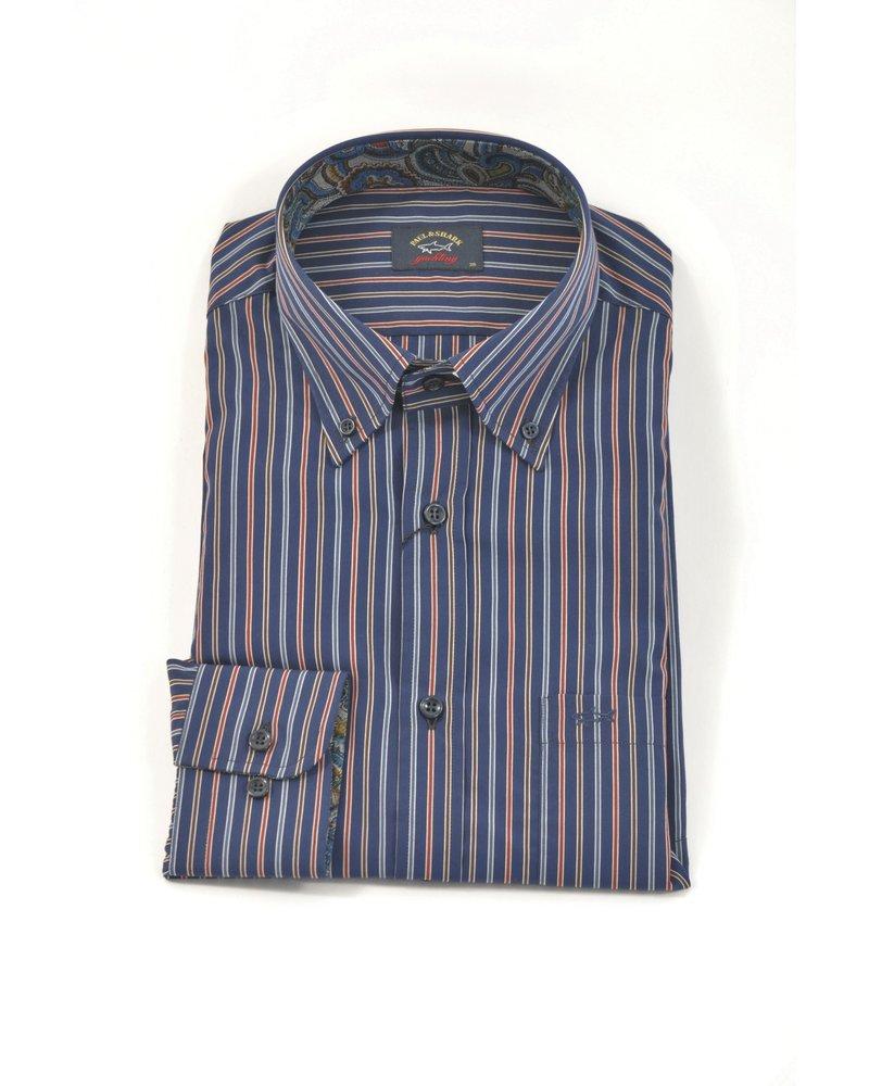 PAUL & SHARK Classic Fit Navy Multi Colour Stripe Shirt