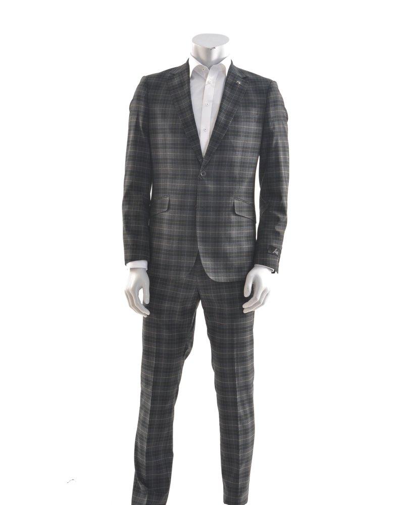 SUITOR Slim Fit Charcoal Plaid Suit