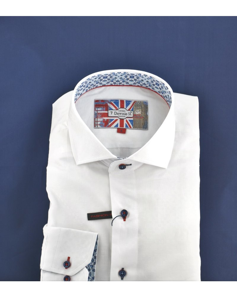 7 DOWNIE Modern Fit White Neat with Red Stitch Shirt