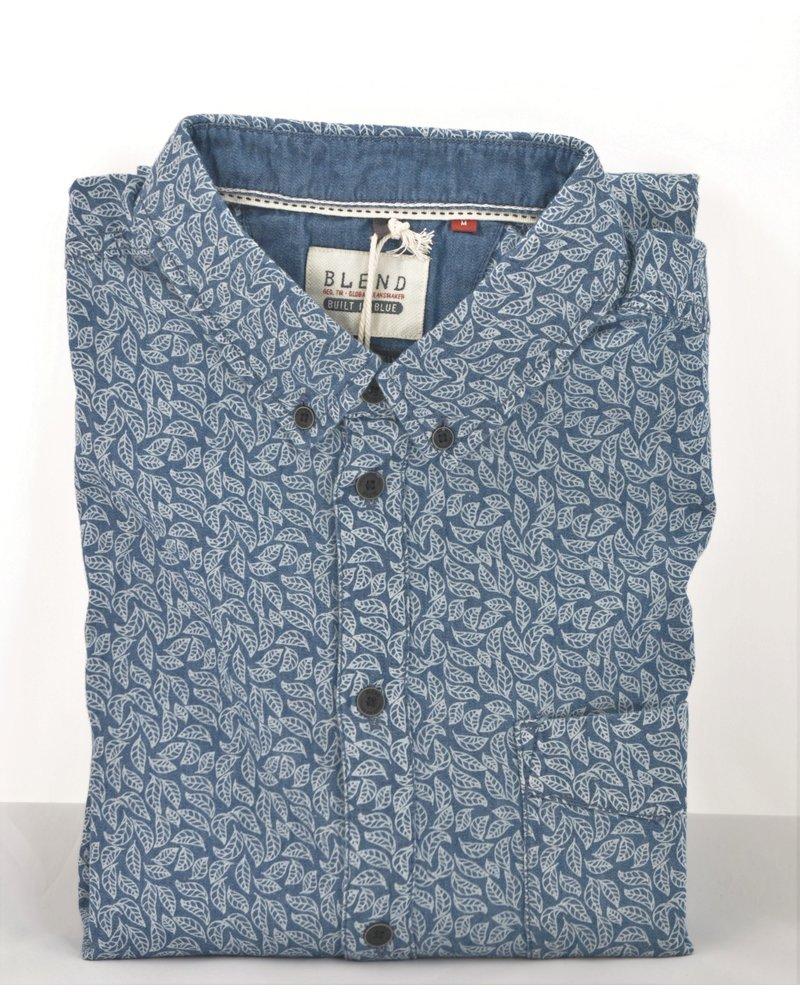BLEND Slim Fit Blue Leaf Shirt