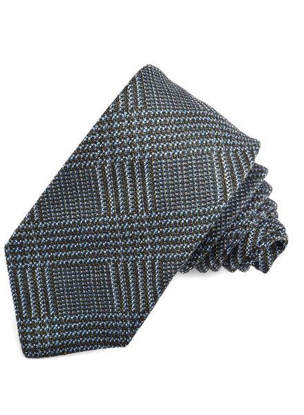 DION Navy and Black Plaid Silk Tie