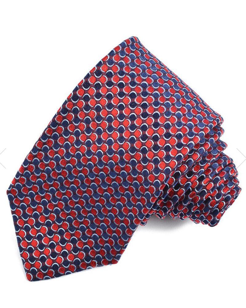 DION Red Navy Neat Silk Tie