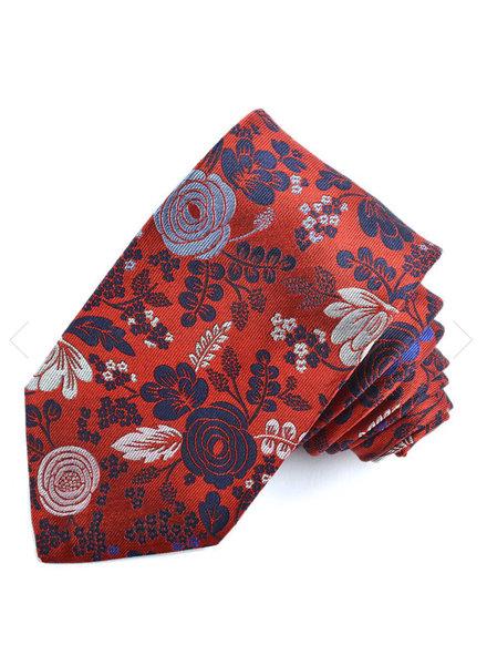 DION Red Floral Silk Tie