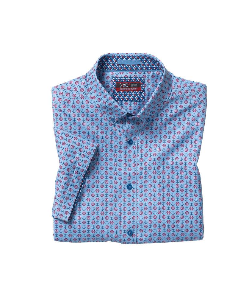 JOHNSTON & MURPHY Classic Fit XC4 Blue Anchor Print Shirt
