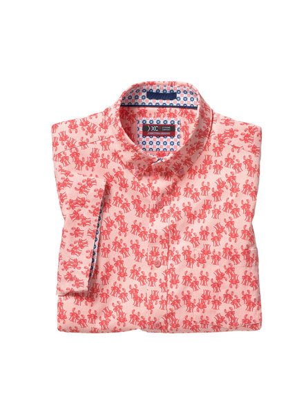 JOHNSTON & MURPHY Classic Fit XC4 Coral Lobster Print Shirt