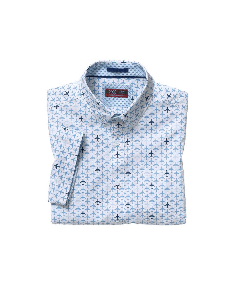 JOHNSTON & MURPHY Classic Fit XC4 White Airplane Print Shirt