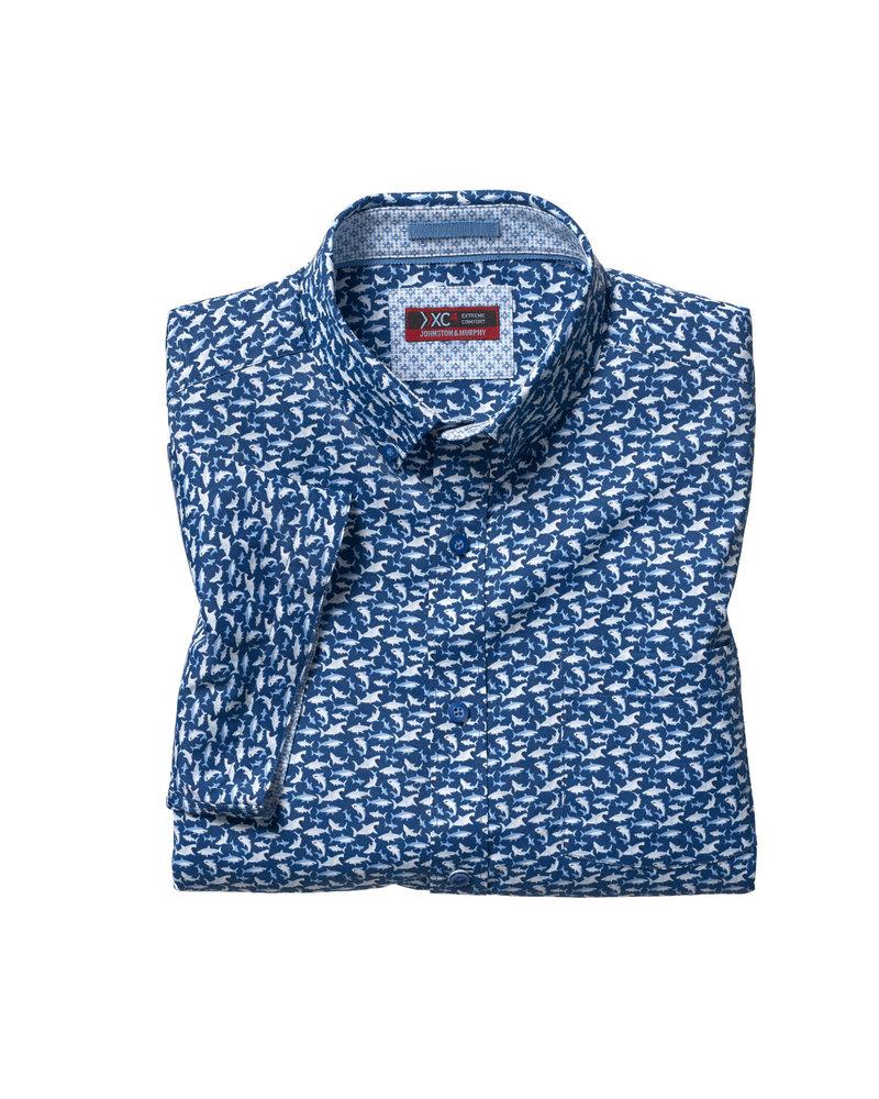 JOHNSTON & MURPHY Classic Fit XC4 Navy Shark Print Shirt