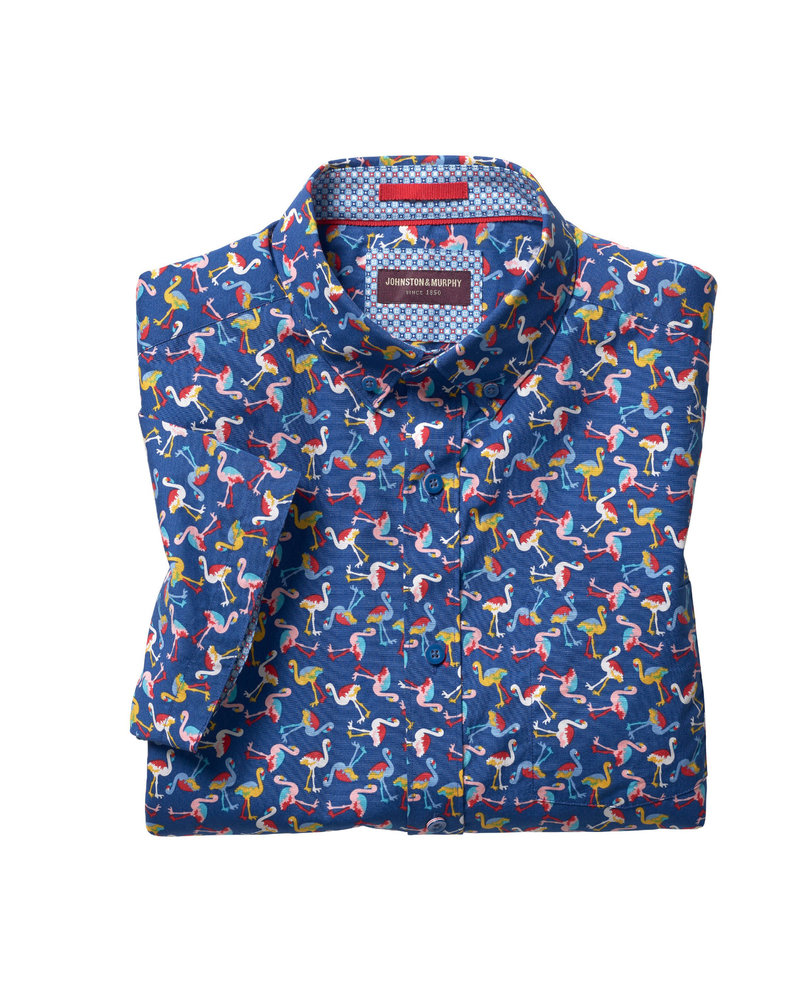 JOHNSTON & MURPHY Classic Fit Navy Flamingo Shirt