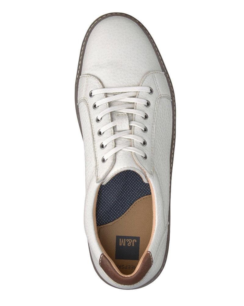 JOHNSTON & MURPHY White McGuffey Lace to Toe Leather Sneaker