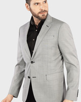 7 DOWNIE Modern Fit Grey Windowpane Sport Coat