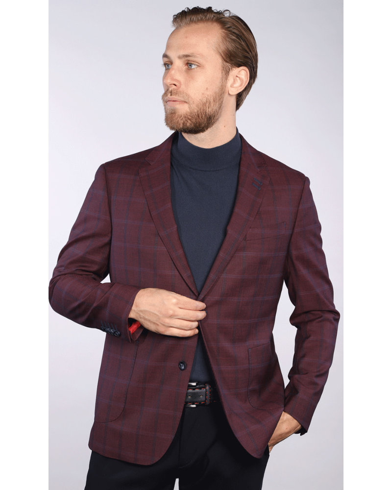 7 DOWNIE Modern Fit Burgundy Check Sport Coat