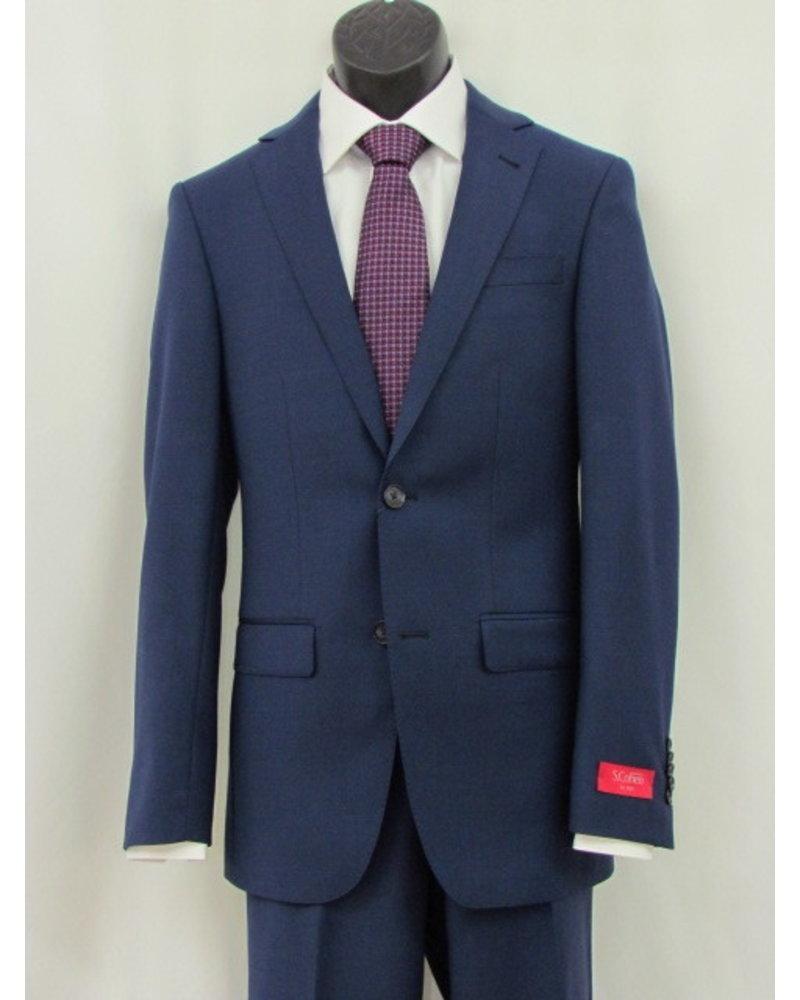 S COHEN Slim Fit Bright Blue Plain Suit