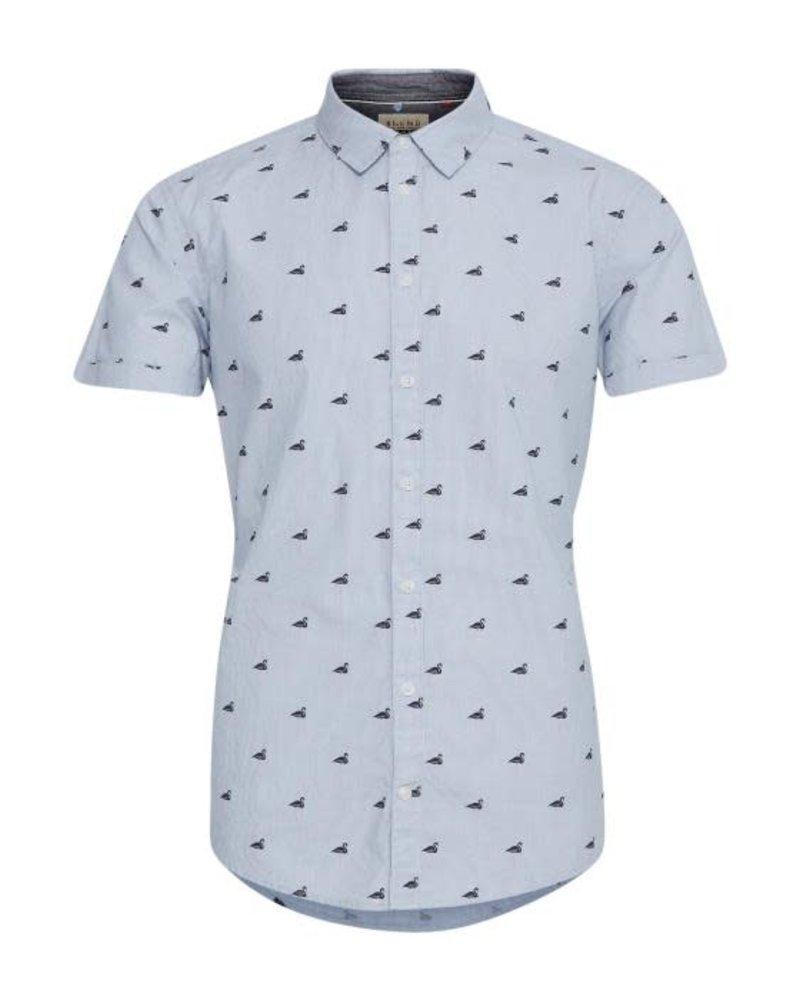 BLEND Slim Fit Blue Stripe with Flamingos Shirt