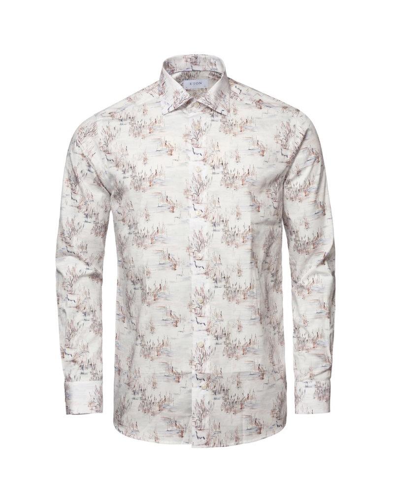 ETON Modern Fit White Crane Twill Shirt