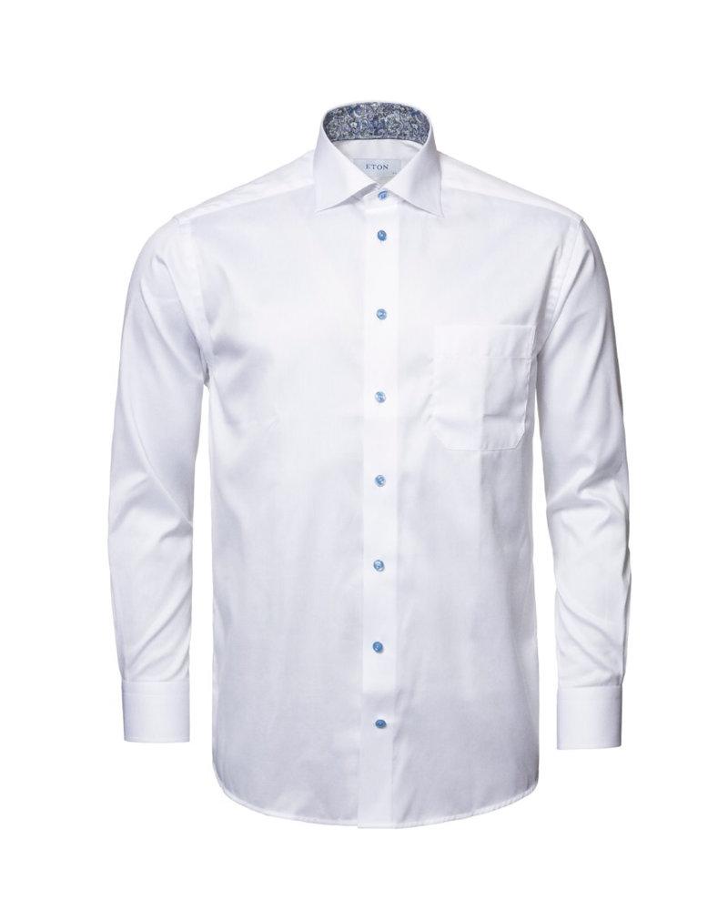 ETON Classic Fit White Twill Dress Shirt