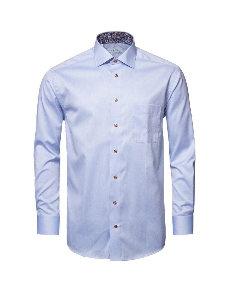 ETON Classic Fit Blue Twill Dress Shirt