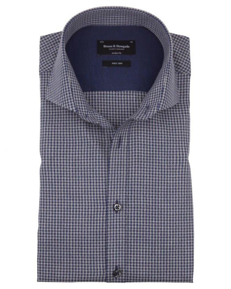 BRUUN & STENGADE Modern Fit Blue Grey Gingham Shirt