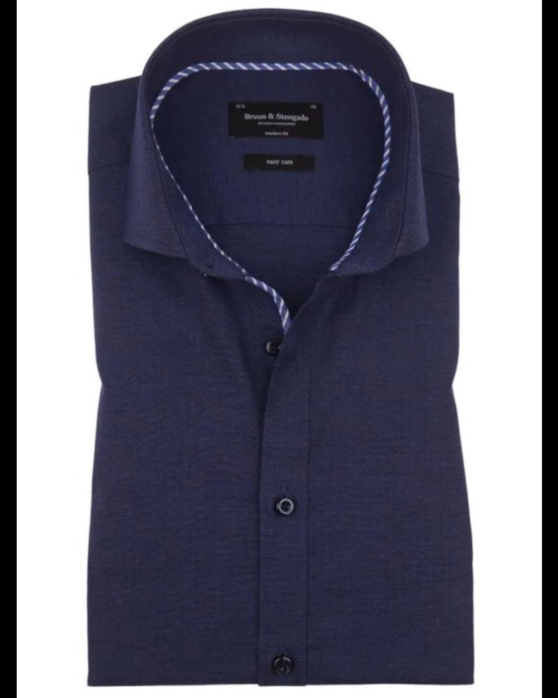 BRUUN & STENGADE Modern Fit Blue Herringbone Shirt