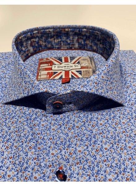 7 DOWNIE Modern Fit Denim Blue Tan Shirt