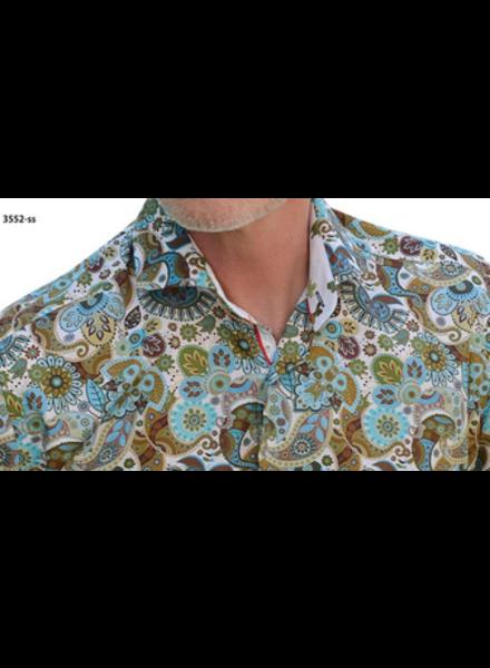 7 DOWNIE Modern Fit Green Paisley Shirt